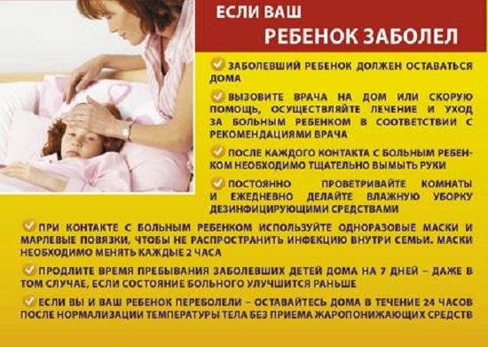 Если ребенок заболел гриппом