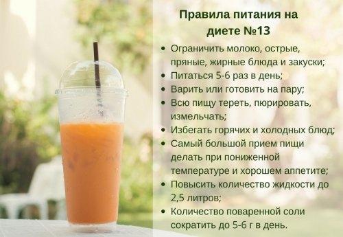 Правила питания на диете №13