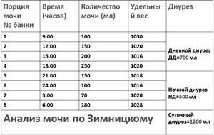 Анализ мочи по Зимницкому