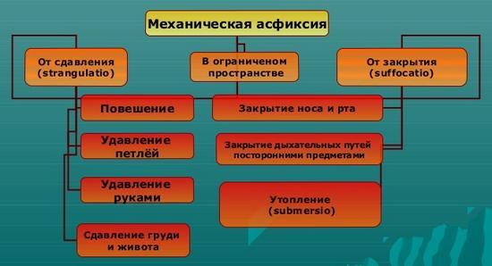 Классификация механической асфиксии