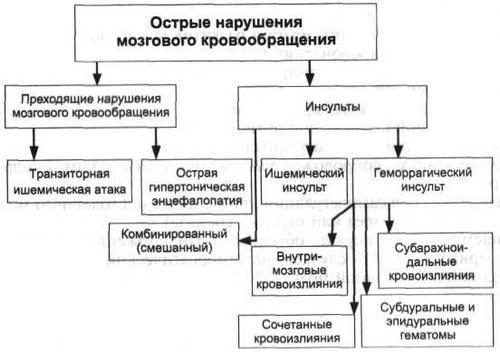 Классификация острых нарушений мозгового кровообращения
