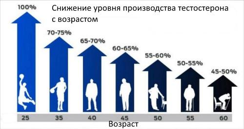 Снижение уровня производства тестостерона с возрастом у мужчин